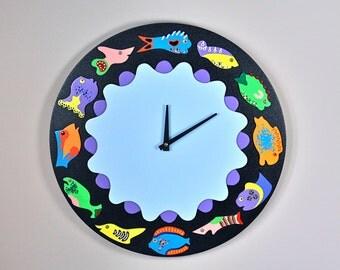 Handmade Black Fish Clock Round Wall Clock Original by Kuzniart Whimsical Fish Beach House Clock Pop Art
