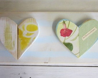 Shabby chic Heart wall hanging flowers quote cottage distressed wood recycled vintage book page word art Valentines Day