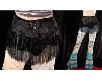 Flapper Wrap Skirt, Black velvet wrap skirt, patchwork bustle, fringe belt, Belly Dance, Gypsy, Boho, Gothic, dark fashion, noir, Cabaret