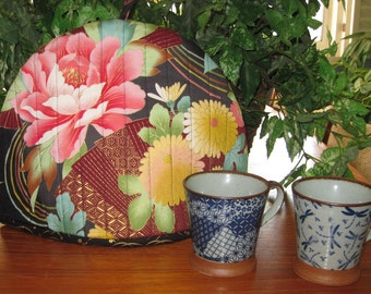 Quilted Teapot Cozy Japanese Peonies and Fans Design Thermal Lined Fabric