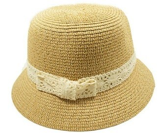 Plain Light straw ladies Cloche Hat