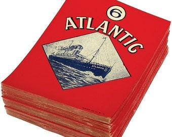 Early 1900s Vintage Broom Labels  Vintage Paper Labels for Brooms  Atlantic Brooms Label  Ship Design Broom Label