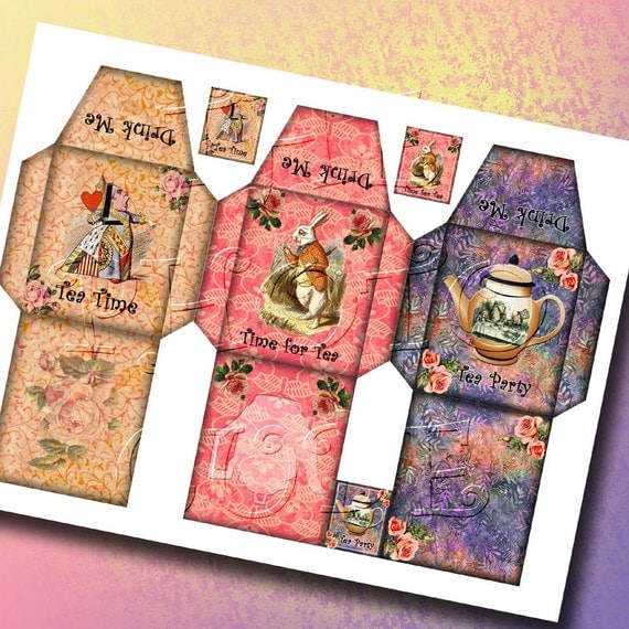 Alice in wonderland 3 charming tea bag sleeve templates for Alice in wonderland tags template