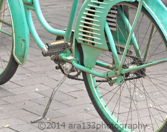 Teal Bicycle Art Cottage Chic Wall Art Retro Blue Bicycle Photo Home Decor Fine Art Photographhy 5x5 inch Print - Cruising About Town