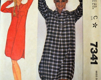 Vintage Sewing Pattern McCall's 7341 Misses' Nightshirt COMPLETE Bust 32-34 inch