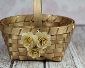 Gold Flower Girl Basket, Gold Wedding