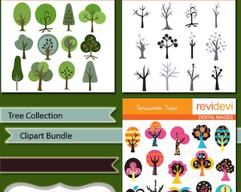Tree Collection Digital clipart bundle, trees digital images, green and winter trees, commercial use - MGB107