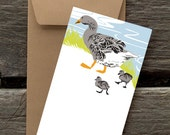 Goose Family -- 8 Blank flat cards and envelopes