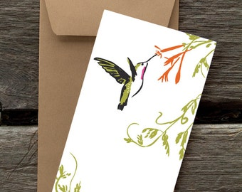 Hummingbird and Honeysuckle - 8 Blank flat cards and envelopes