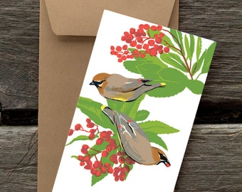 BF94: Cedar Waxwing and Toyon -- 8 Blank flat cards and envelopes