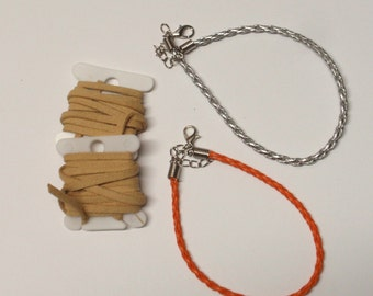 Silver and orange bracelets 2 yds faux suede cord