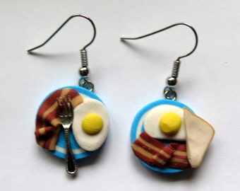Bacon and Eggs dangly earrings