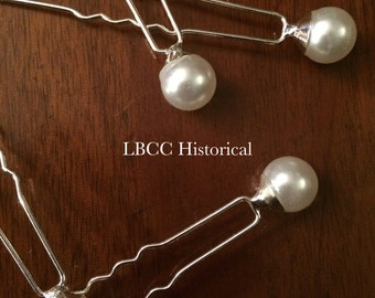 Paste Pearl Hair Pins In Sets of 4 - Bridal Hair, Historical Up Do