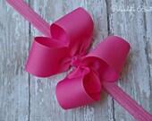 Hot Pink Headband Toddler Hair Bow Bowband Baby Hot Pink Headband Big Bow Headband New Baby Gift Hot Pink Baby Headband