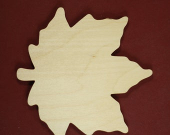 Maple Leaf Shape Unfinished Wood Laser Cut Shapes Crafts Variety of Sizes