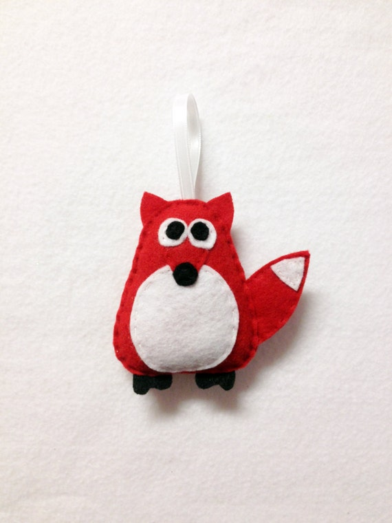 Fox Ornament, Red Fox, Christmas Ornament, Felt Holiday Ornament, Felt Animal, Andy the Red Fox - Made to Order, Secret Santa Gift