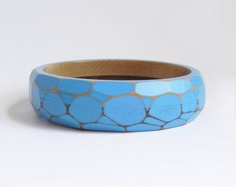 Faceted Wood Bracelet, Geometric Bangle, Modern Wooden Jewelry, Faceted Bangle, Modern Geometric Jewelry, Sky Blue, Medium