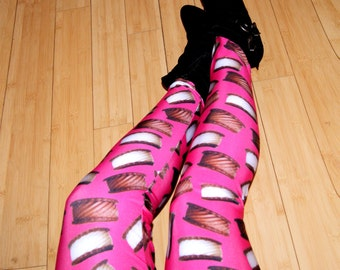 Neon Pink Ice Cream Sandwiches Stretch Lycra Leggings Adult All Sizes MTCoffinz