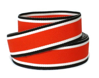 "7/8"" Striped Grosgrain Ribbon by the Yard / Hot Trax / Orange Ribbon / Striped Ribbon Orange Black White / Hair Bow Supplies / Preppy Ribbon"