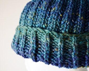 Montana Navigator Beanie in Rich Blue, Green. Hand Knit Ribbed Foldover Hat in Luxury Handspun Yarn. One of a Kind Mountain Beanie. Hoorah!