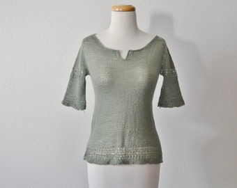 Grey Green Sage Lace Top - Light Handknit Sweater with Lace & Split Neckline Detailing. Light, Translucent, Women's Spring Fashion Handknit