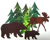 Diecut NORTHWOODS SET, diy,  evergreens, bears, moose, assorted, appliques, TEMPORARILY Fused 100% premium cotton fabric, Precision die cut