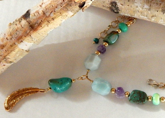 Turquoise Boho Necklace As Seen On Cedar Cove Gold Natural Gemstones Chunky Turquoise Amethyst Amazonite Handmade The Artisan Group