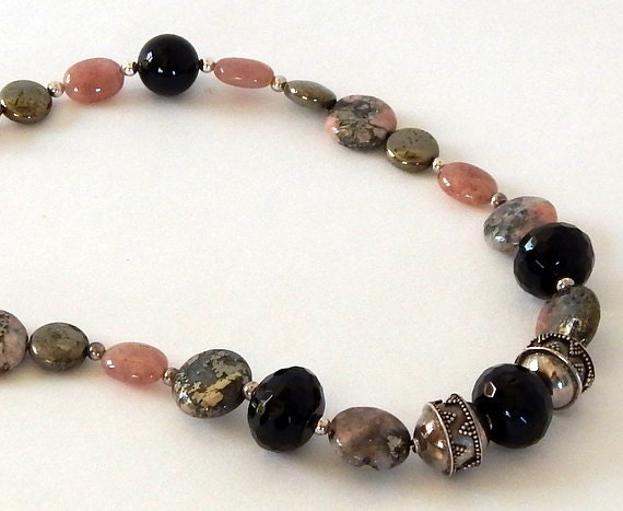 Rhodochrosite Necklace 925 Sterling Silver Necklace Natural Gemstone Stones Onyx Pyrite Pink Gemstone Necklace Banded Rhodochrosite Necklace