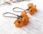 Orange Flower earrings Orange earrings Autumn Fall fashion