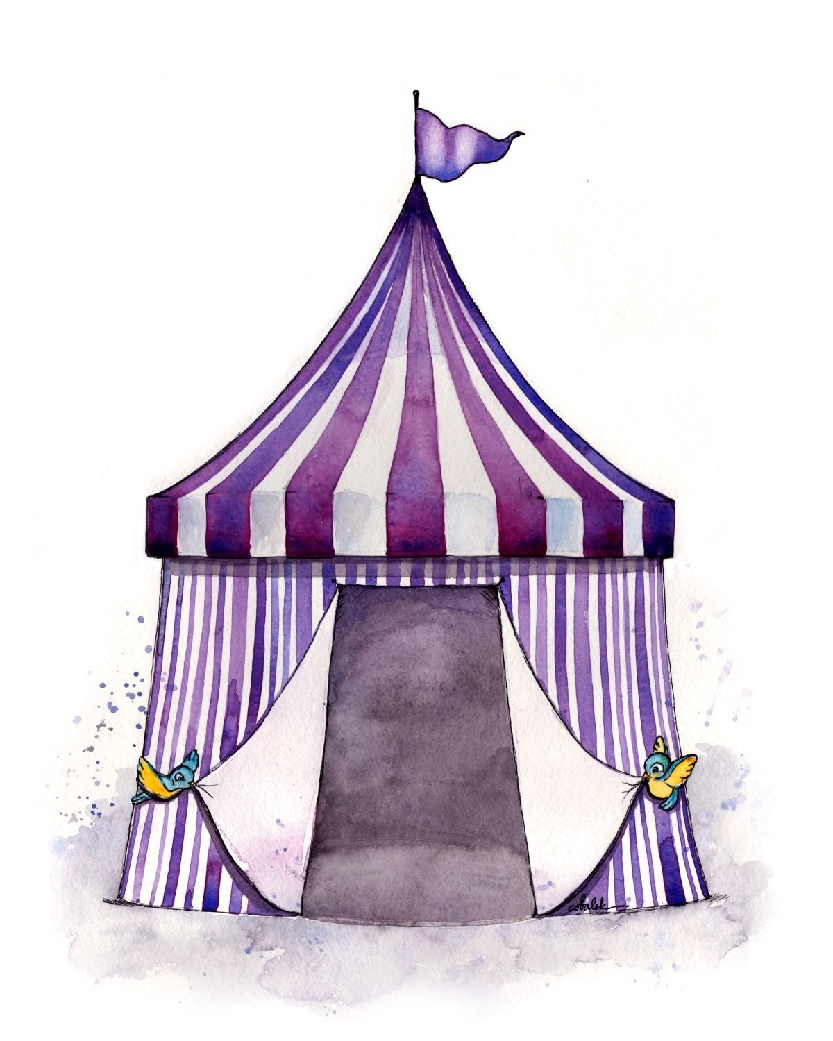 vintage circus tent drawing