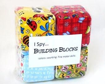 Soft I Spy Building Blocks- set of four - Free U.S Shipping