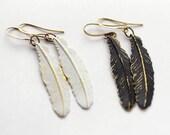 Boho Feather Earrings, Tribal Earrings, Boho Earrings Rustic Black and Gold Earrings, Gold and White earrings, Raven Feather Earrings, SRAJD