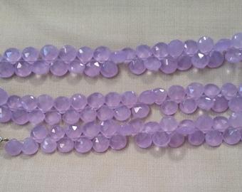 Lavender Purple Chalcedony Faceted Heart Flat Teardrop Gemstone Briolette Drops 12mm - 13mm (6 gems beads)