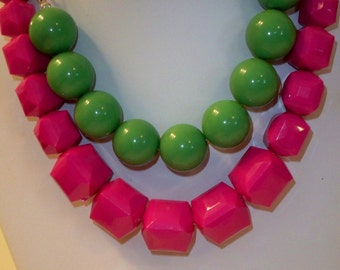 Vintage Pink Bead Necklace & Green Bead Necklace, Vintage Acrylic Round Green Beads with Silver Chain and Neon Pink Square Bead Necklace