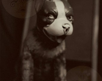 Tige -Smiling Antique Buster Brown Dog Sepia Photo Portrait - Antique Toy Dog Doll - Smiling Dog - Film Photography Print -Sepia Toned Photo