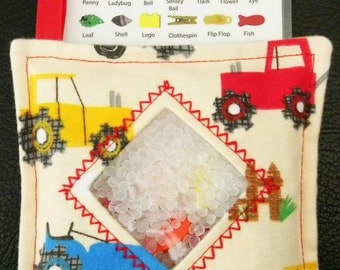 I Spy Bag - Mini with SEWN Word List and Detachable PICTURE LIST- Tractors