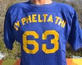vintage 60s football jersey IY phelta THI funny greek fraternity frat college tee shirt Medium southern athletic john wtf