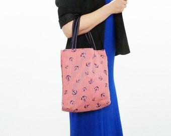 Tote bag, nautical anchor print, red white and blue, cotton beach bag