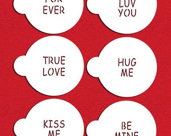 Small Candy Heart Sayings Stencil Set for Cookies, Cakes & Cupcakes - Designer Stencils (C252) face painting