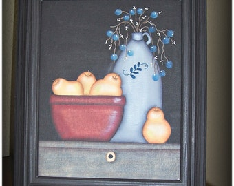 Primitive Jug Crock-Blueberries-Pears-Bowl Still Life 8 x 10 Framed Canvas-Home Decor