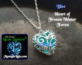 Blue Heart of Frozen Winter Forest Glowing Necklace