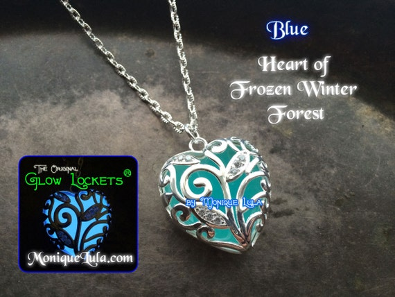 Blue Heart of Frozen Winter Forest Glowing Necklace