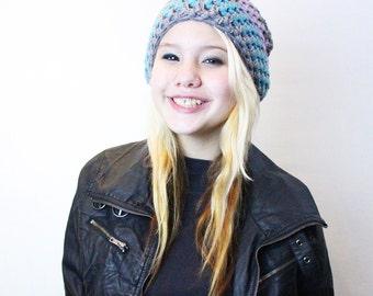 The Grunge Soft slouch hat chunky beret Aqua lavender grey pastel