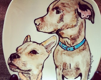 "Custom Porcelain Hand Painted Dog Plate 7.5"" for Birthday Special Occasion Wedding or Engagement Gift"