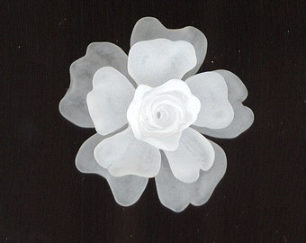 Triple Stacked Large German Crystal Matte Plastic Lucite Flower Beads - You Paint Or CUSTOM DYE Them. 15, 32 & 37mm L9