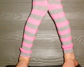 SALE - Pink and Gray Stripe Leg Warmers for Baby, Toddler, Child, Tween Boy or Girl - Arm Warmers - Great Birthday or New Baby Shower Gift