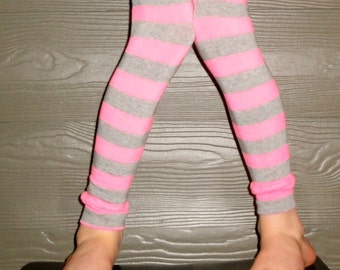 Pink and Gray Stripe Leg Warmers for Baby, Toddler, Child, Tween Boy or Girl - Arm Warmers - Great Birthday or New Baby Shower Gift