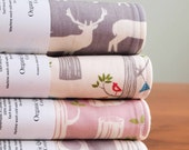 Organic Burp Cloth, Set of Two in WOODLAND WHIMSY, Forest Animals and Bunting Burp Cloths Gift Set, Choose your Favorite