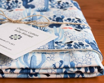 Organic Baby Blanket in CACTI; Indigo Blue and White Desert, Cactus Organic Baby Blanket Gift, Receiving Blanket (Last One)