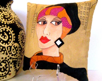 ART DECO ZELDA, hand painted pillow, new york city, bronze, hot pink, art deco, decorative pillow, gift for her,christmas, fun quote